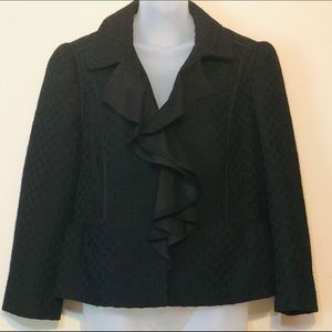 Loft black jacket blazer with ruffles front